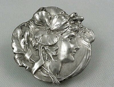 """Antique Art Nouveau Sterling Unger Bros Watch Pin Lady Flower in  Hair 1 1/8"""""""