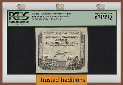 TT PK A70b 1793 FRANCE 50 SOLS PCGS 67 PPQ SURVIVING 224 YEARS OLD NONE FINER!