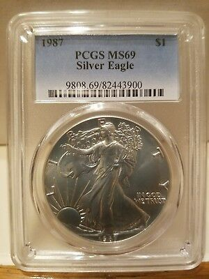 1987 Silver Eagle Dollar PCGS MS69 SERIAL #9808.69/82443900