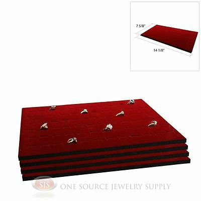4 Burgundy Ring Display Pad Holds 72 Slot Rings Tray or Case Jewelry Insert