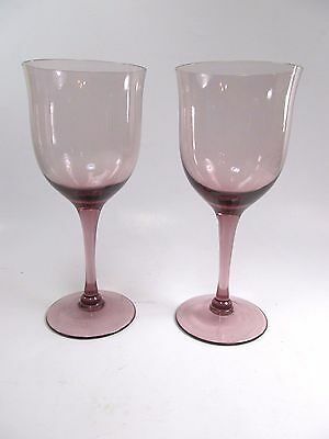 Elegant Plum Amethyst Wine Glass Goblets Set of 2