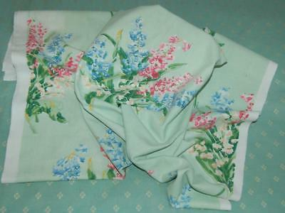 """Antique Linen Curtain Fabric 46 x 31""""Muted Colours Lily of Valley Hyacinth c1930"""