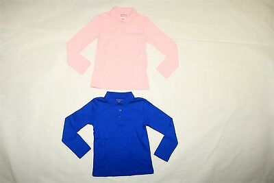 Lot of 2 GEORGE Girl's School Uniform 3 Button Polo Shirt PINK & BLUE X-Small XS