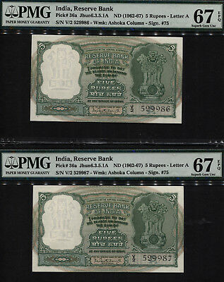 TT PK 36a 1962-67 INDIA RESERVE BANK 5 RUPEES SEQUENTIAL SET OF TWO PMG 67 EPQ!