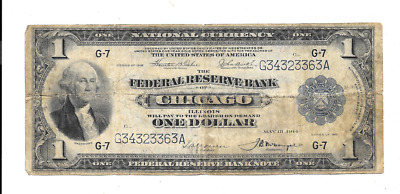 1918 $1 Large Federal Reserve Bank Of Chicago Illinois Flying Eagle