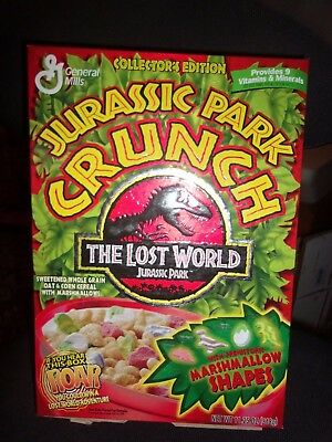 Vintage Jurassic Park Crunch The lost world Cereal box