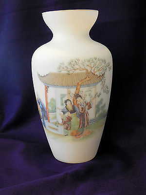 Large Satin Art Glass Vase, Norleans? Made n Italy, Chinese Theme, Poem, Vintage