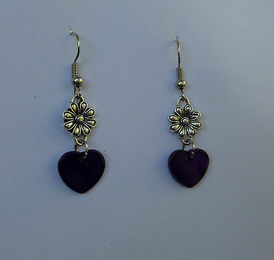 LOVELY HEART AND FLOWER SILVER PLATED EARRINGS blue purple SHELL HEART