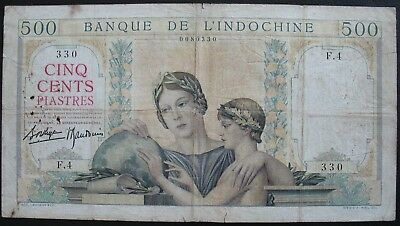 French Indo-China 1936 500 Piastres Note