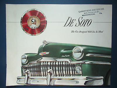 "1949 DeSoto Car Dealer Sales Brochure - Division of Chrysler - 13""x10"""