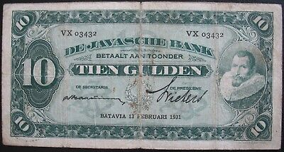Netherlands Indies 1931 10 Gulden Note