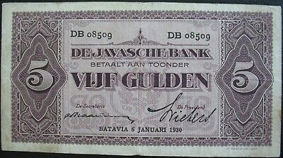 Netherlands Indies 1930 5 Gulden Note