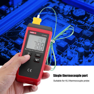 Portable UNI-T Mini Contact Digital K/J Thermocouple Thermometer LCD Display TP