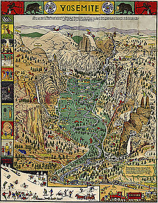 YOSEMITE NATIONAL PARK Decorative Pictorial Wall Map Vintage Art Poster  Print