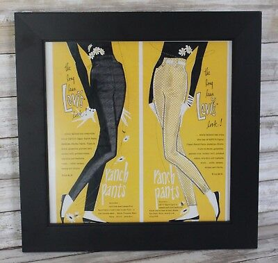 """LEVI'S Vintage Advertising RANCH PANTS 1950's Women's Jeans 15"""" FRAMED Print AD"""