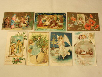 Lot of Antique Vintage Christmas Postcards 1900s: Angels Children Nativity AS-IS