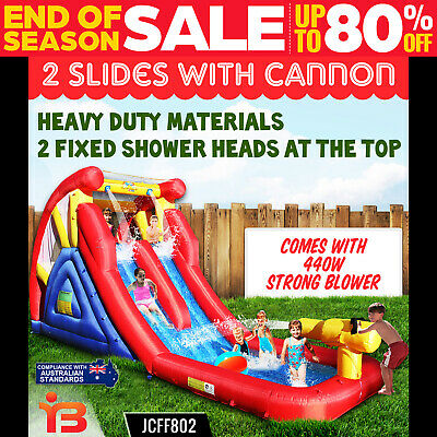 Hot Summer Double Water Slide with Cannon Jumping Castle