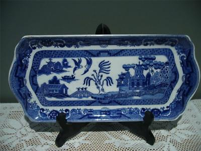 Vintage Blue Willow Pattern China Sandwich Plate - 28.5Cm - Fair Cond