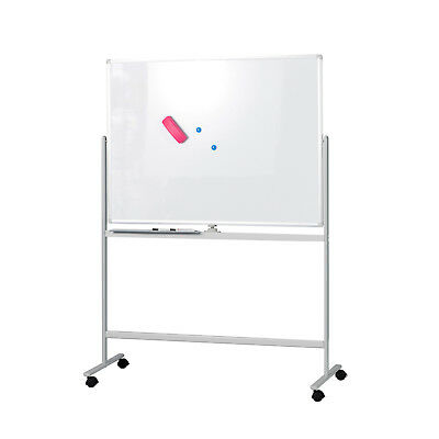"Mobile Whiteboard Magnetic Dry Erase Board 47"" x 35"" Double Sided with Stand"