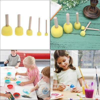 5X Sponge Art Painting Roller Brushes Kids Watercolor Paint Graffiti Drawing Toy