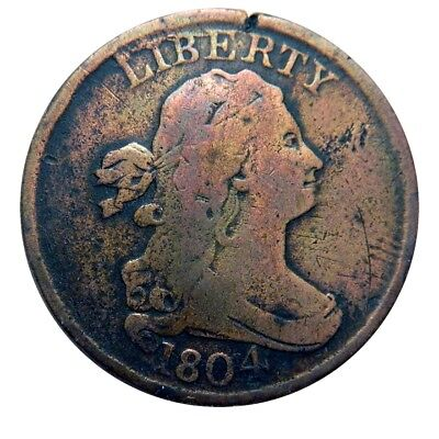 Half cent/penny 1804 spiked chin rare obverse cud entry level