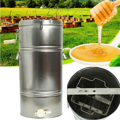 2 Frame Stainless Steel Manual Honey Extractor Honeycomb Beekeeping Spinner Tank