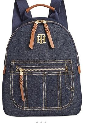 5b4ca33e1ea New Tommy Hilfiger Esme Small Denim Backpack TH logo denim bag tote Gold  tone