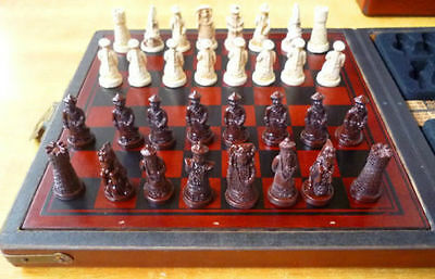 antique excellent china folk collecton wood Leather box with 32 pieces Chess Set