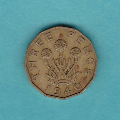 ENGLISH 1940 WWII KGVI THREE PENCE PRE-DECIMAL 12-SIDED Brass COIN:THRIFT FLOWER