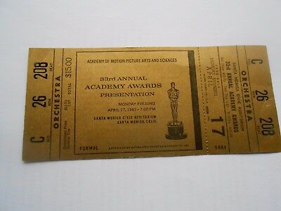 33Rd Annual Academy Awards Gold Ticket....movie Motion Picture Theatre....1961