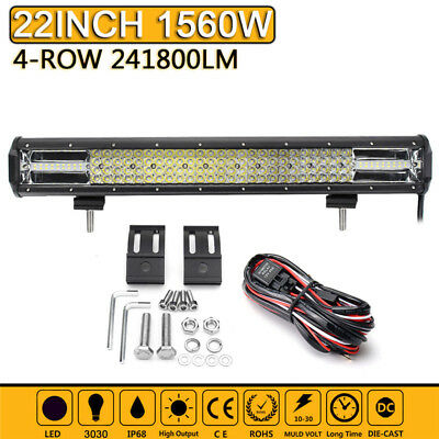 Quad Row 22inch Combo LED Work Light Bar Driving Lamp Offroad Truck SUV + Wiring