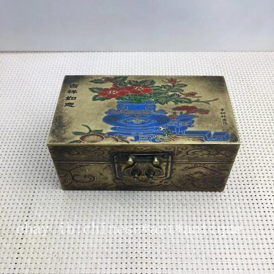 Chinese  Copper  hand engraving  flower  Storage Jewelry Box   M