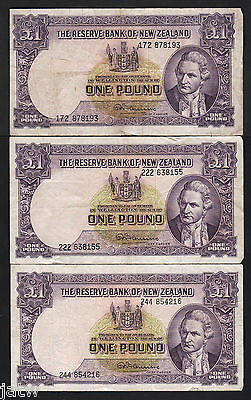 NEW ZEALAND P-159d. 1 Pound (1956-57). Fleming signature x 3 Notes.. F+-VF