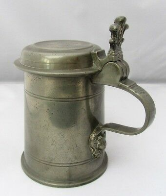 Pewter tankard or stein, dated 1730, probably Austrian Linz, good touch marks