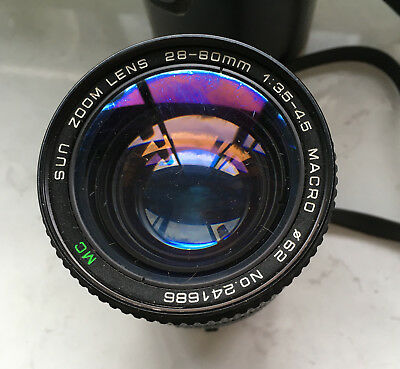 Sun Zoom Lens 28-80Mm 1:3.5-4.5 Macro No 241686 Made In Japan With Case