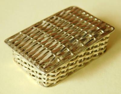 Unique Woven Sterling Silver Tiny Basket Pill Trinket Box MEXICO