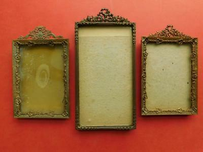 3 American c1900s intricate Ormolu Gilt metal Picture photo frames stands
