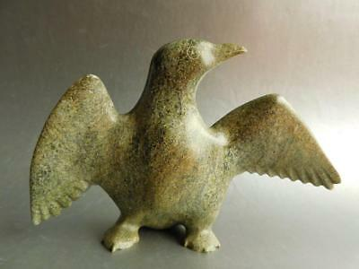 Carved Stone Water Bird Wings Spread Inuit Eskimo First Nations Art Canada