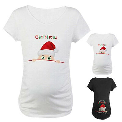 Baby's 1st Christmas on the side Maternity T-shirt Pregnant Tees Top Funny Gift