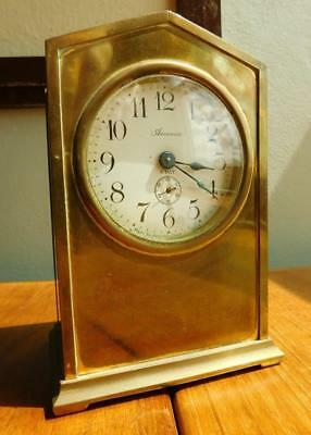 Edwardian Ansonia Clock Co Brass Cased 8 Day Mantle Clock. USA 1900s