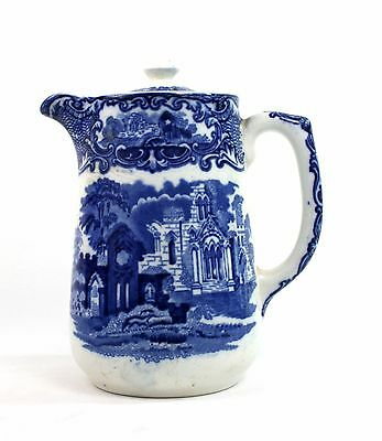 Early 20th C. George Jones & Sons Hot Water Pot Abbey 1790 Blue & White