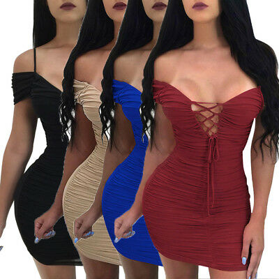 Sexy Women Fashion Lace Up V Neck Bodycon Party Cocktail Club Mini Dress Black