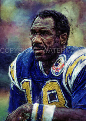 Rare New Charlie Joiner San Diego Chargers Portrait Print 12x18 s/n by artist