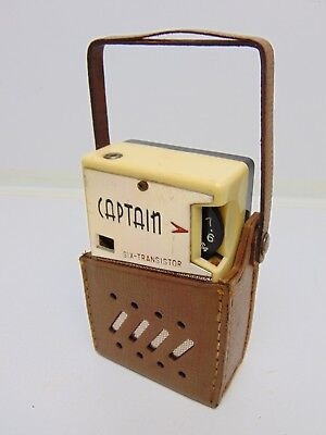 Working 1950s 60s Captain pocket transistor radio vintage 50s retro Jet age old