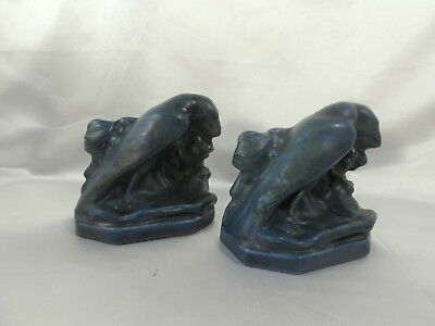 2 Vintage 1920 Rookwood Pottery Raven Bookends Mold # 2275