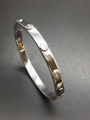 925 Silver Solid Children's Screw Style Bangle
