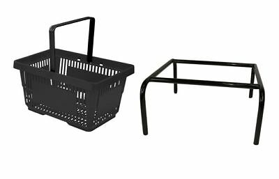 Black Plastic Shopping Baskets Pack of 5 with Single Handle with Black Stacker