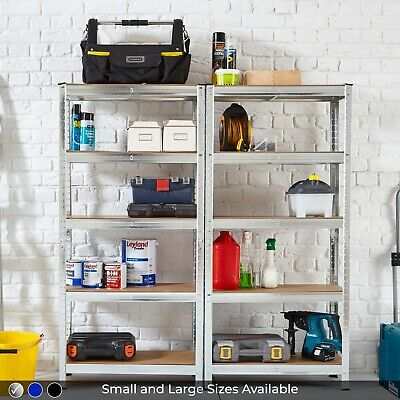 5 Tier Heavy Duty Galvanised Steel Garage Shelving Racking Unit Storage Racks