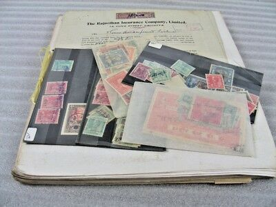 INDIA, Excellent Assortment of Revenue Stamps on documents and in others
