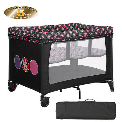 New Obaby Disney Minnie Circles Bassinet Travel Cot Baby Play Pen From Birth